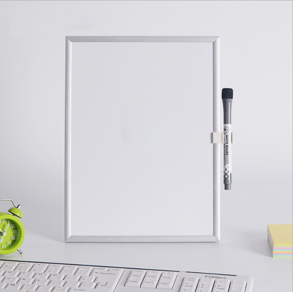 Desktop Mini Dual-Side Magnetic White Board Reversible Writing Message Board w/Eraser and Whiteboard Pen for Drawing and Learning, School Home Educational Supplies