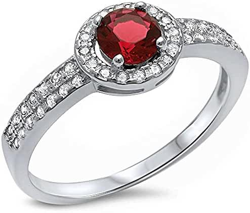 Halo Style Simulated Ruby & Cubic Zirconia .925 Sterling Silver Ring Sizes 5-10