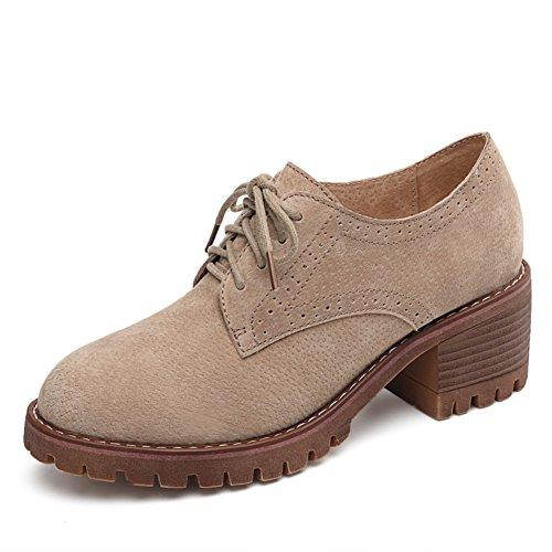 In Womens Chunky Scarpe Tacchi Academy B british Casual Primavera Scarpe con Suola Spessa Shoes Pelle Sottili scarpe Vento Pgfpxq1