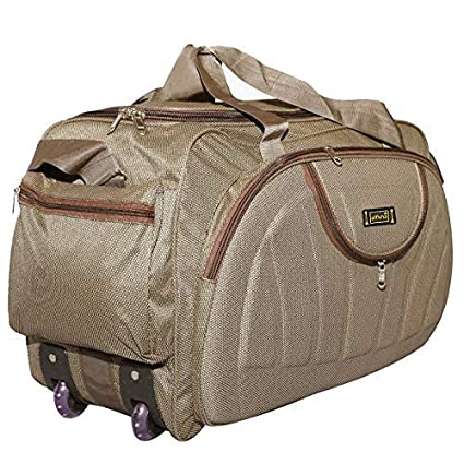 alfisha Unisex Synthetic Lightweight Waterproof Luggage Travel Duffel Bag with Roller Wheels (Gala Red, AFB-DUF-16) (Brown)