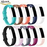 For Fitbit Alta HR Bands, Afoskce Alta/Alta HR band Newest Adjustable Sport Accessory Replacement Wristband with Secure Metal Buckle for Fitbit Alta HR 2017/Fitbit Alta 2016 (10 colors/Pack, Large)