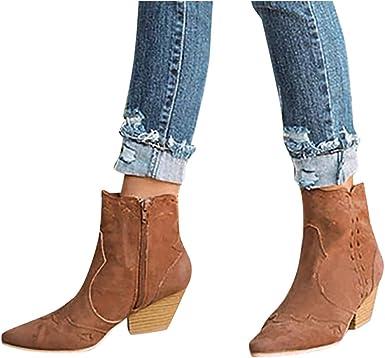 Berimaterry Botines para Mujer Zapato Mujer Tacon Ancho Zapatos ...