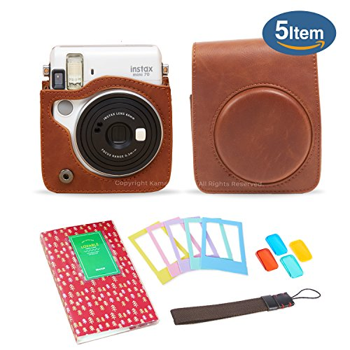 Kamera 5 in 1 Fujifilm Instax Mini 70 Case Accessory Bundle ( instax Mini 70 Case/Flash Filters/Album/Color Desktop Frames /Strap) -Brown