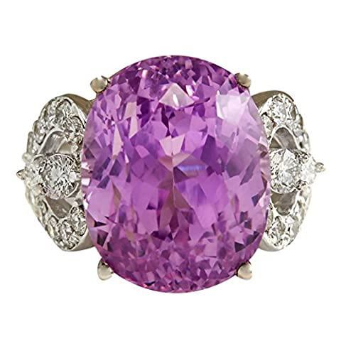 22.38 Carat Natural Kunzite And Diamond Ring In 14K Solid White Gold (Kunzite Rings In White Gold)