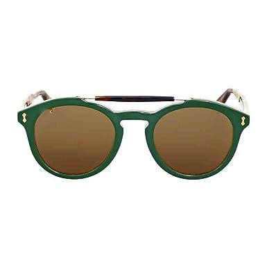 Gucci Herren Sonnenbrille GG0124S 005, Grün (Green/Brown), 50