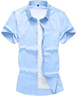 GRMO Men Embroidery Stylish Button Up Short Sleeve Slim Fit Polo Shirt