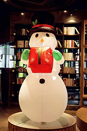 Fashionlite 8 Feet Christmas Xmas Inflatable Snowman with Gift Lighted Blow-Up Flashing Colorful for Yard Party Decoration