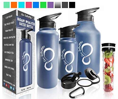 Double Wall Vacuum Insulated Water Bottles–30, 40 & 64oz 18/8 Food Safe Stainless Steel- Includes Flip Top & Wide Mouth Lid, Removable Fruit Infusion Rod & Carabiner- For Hot & Cold (Navy Blue, 40 oz)