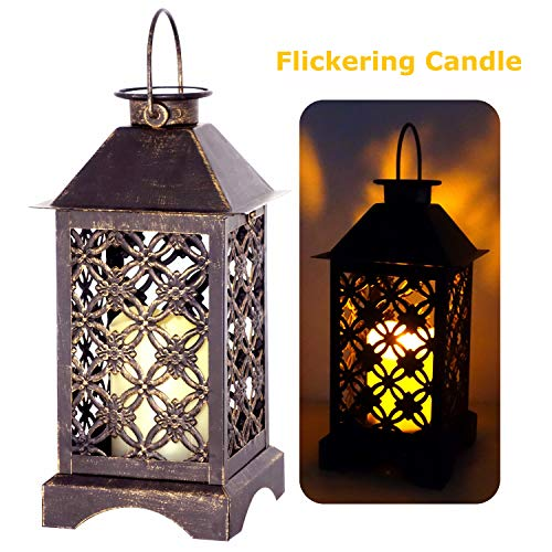 Antique Hanging Bronze (Solar Lantern Outdoor 4LeafClover Bronze | Antique Metal Construction Solar Garden Lantern | Indoor or Outdoor Solar Hanging Lantern or Tabletop Solar Powered Lantern with LED Flickering Candle)