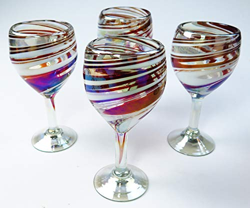 Wine Glasses, Hand Blown, Red White Swirl 12 Oz (Set of 4)