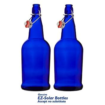 Amazon.com: Azul Solar de vidrio botellas de agua, botellas ...