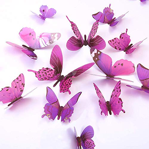 Butterfly Wall Decals, 24 Pcs 3D Butterfly Removable Mural Stickers Wall Stickers Decal Wall Decor for Home and Room Decoration - Purple (Purple) -