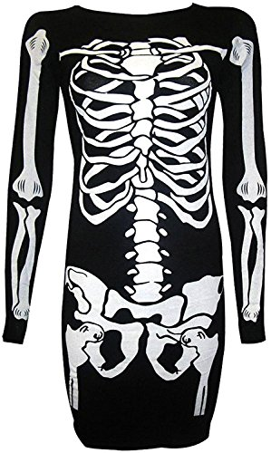For G and PL Halloween Women Funny Cosplay Long Sleeve Party Dresses Skeleton (G-a-y Halloween)