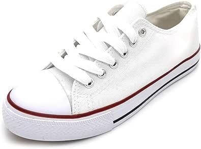 Zapatillas de Lona Mujer Blanco Negro Bambas Blancas Lona Puntera Goma Loneta Blanca Negra: Amazon.es: Zapatos y complementos