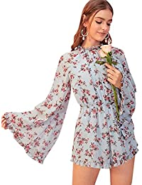 Romwe Women's Floral Printed Ruffle Bell Sleeve Loose Fit Jumpsuit Rompers