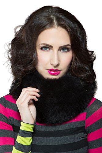 EM-EL Women's Black Fox Fur Muffler by EM-EL