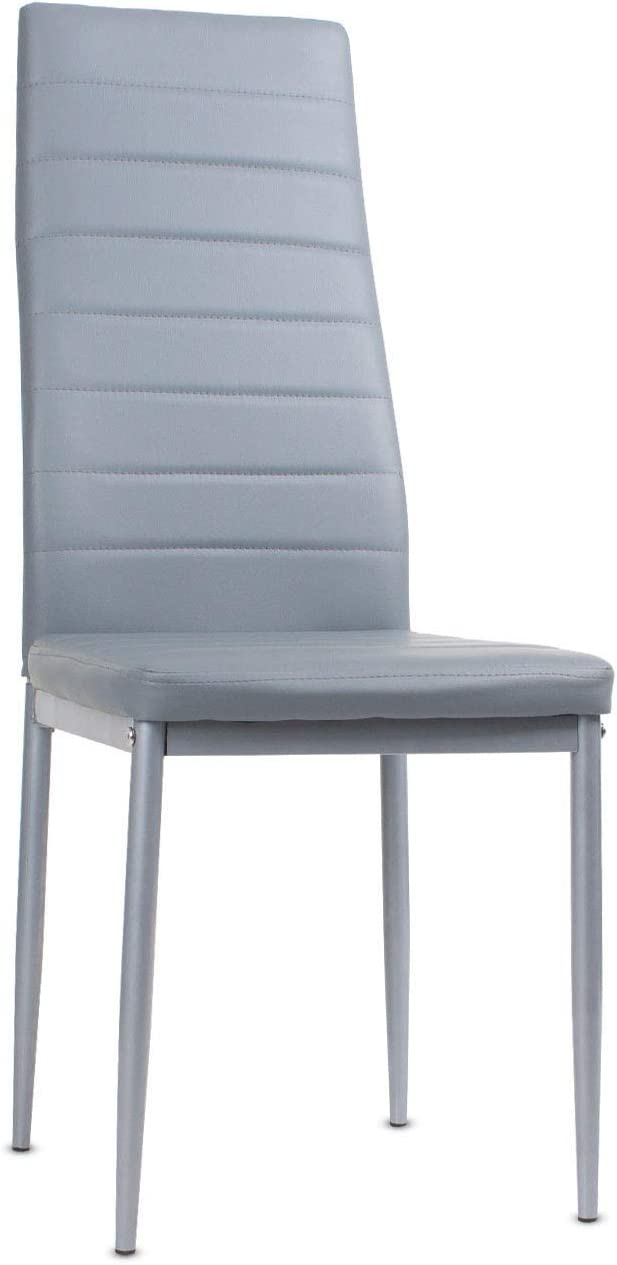 Beliwin High Back Dining Chairs Set 4 Faux Leather Metal Leg and Padded Seat Living Room/Kitchen Grey Set 4