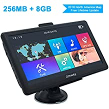 GPS Navigation for Car, Jimwey 7 inch 8GB 256MB GPS Navigation System with 2018 Maps, Vehicle GPS Navigator for Car/Truck and more, Driving Alarm, Voice Steering Navigation, Lifetime Free Map Updates