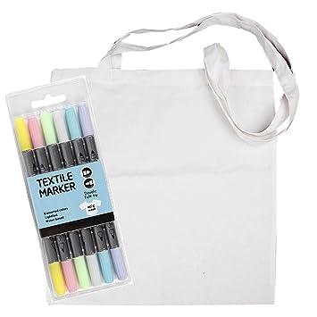 b4a5559310c89 YooKreativ Einkaufstasche Weiß mit Textilmalstifte