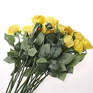 IPOPU 10 Pcs Romantic Real Touch Artificial False Latex Silk Blooming Roses Bouquet Floral Leaf for Home Wedding Party Garden Bridal Hydrangea Decorations DIY, Yellow 3