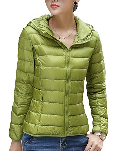 CHERRY CHICK Women's Light Weight Down Jacket with Hood (XL, Yellow Green-AB)
