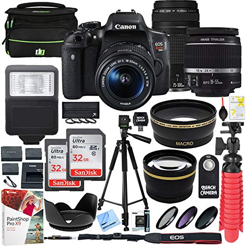 Canon EOS Rebel T6i DSLR Camera with EF-S 18-55mm f/3.5-5.6 is II and EF 75-300mm f/4-5.6 III Lens and 2X 16GB Memory Card Plus Triple Battery Accessory Bundle