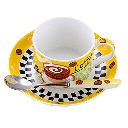 YELLOW Modern Coffe Cup English Style Tea Mug Set With Plate&Spoon