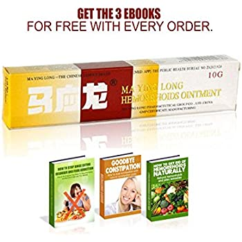 Ma Ying Long Hemorrhoid Cream + 3 Free Ebooks - Hemorrhoids Treatment - Cream for Hemorrhoids - Hemorrhoids Ointment - Helps Relieve Itching, Burning, Pain or Discomfort