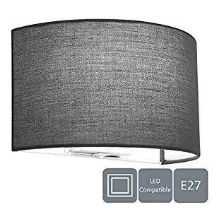 HARPER LIVING 1xE27/ES Wall Wash Light with Switch, Grey Semi-Circle Fabric Shade, Suitable for LED Upgrade, Ideal for Bedroom, Living Room, Hallway, Hotel, B&B