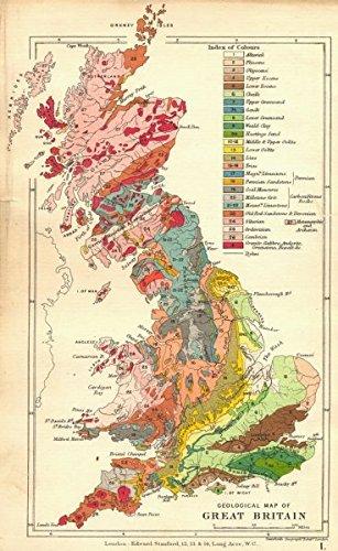 UK Geological Map Of Great Britain Old Antique Vintage Map - Vintage maps uk