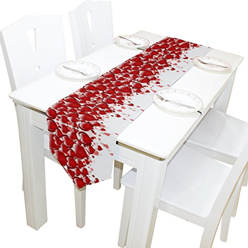 Naanle Valentine's Day Long Table Runner 13x70 Inch, Red Heart Love Polyester Table Cloth Runner for Kitchen Wedding Party Decoration