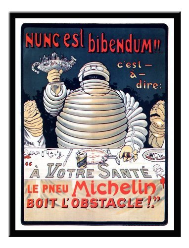 Iposters Bibendum Michelin Man Advert Print 1896 Magnetic Memo Board Black Framed - 41 X 31 Cms (approx 16 X 12 Inches)