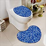 Cushion Non-slip Toilet Mat blue trencadis broken tiles mosaic from Mediterranean in Valencia Spain with High Absorbency