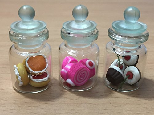 3pc Miniature Cake Food Candy Cookie Dollhouse Cake in Clear Glass Mini Bottle fruit Food #MF015