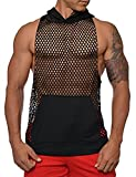 COOFANDY Mens Long Sleeves Muscle See Through Sexy Mesh Transparent Shirt with Hoodie,Black2,Small