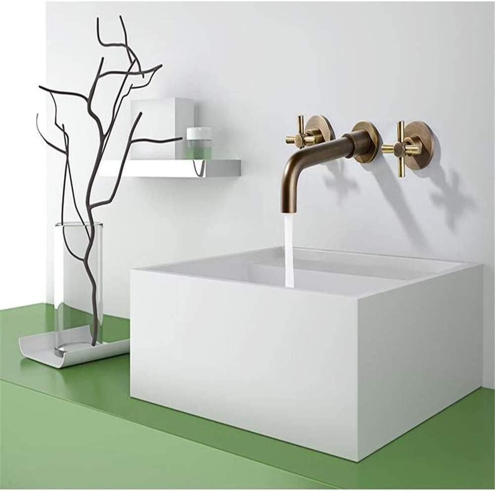 Bqy Retro Grifo 2017 baño clásico Retro Doble Cruz manija del Grifo de latón Antiguo montado en la Pared Grifo de Lavabo de Estilo Antiguo,Yellow
