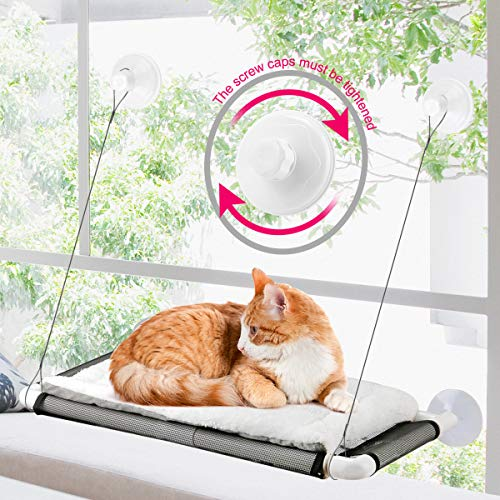 ZALALOVA Cat Window Perch, Cat Hammock Window Seat w/Free Fleece Blanket 2021 Latest Screw Suction Cups Extra Large Sturdy Cat Bed Cat Resting Seat Holds Two Large Cats
