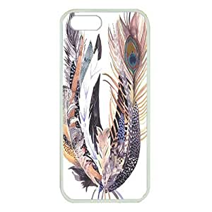 iPhone 5S case ,fashion durable White side design phone case, rubber material phone cover ,with watercolor feather art.
