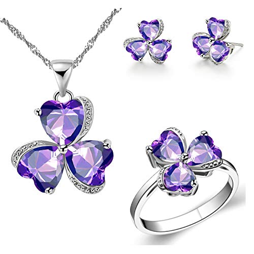 Uloveido Ladies Purple Heart Zircon Lucky 3 Leaf Clover Necklace Stud Drop Earrings Graduation Ring Crystal Bridal Jewelry Sets Birthday Gifts for Mom Girlfriend (Purple, Size 9) T289