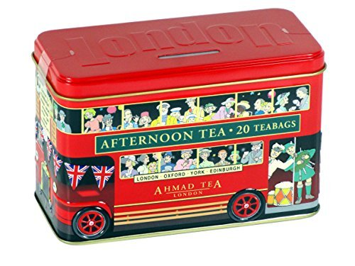 English Tea Caddy - English Afternoon Tea in London Bus Caddy Money Box Tin, 20 Tagged Teabags - 891