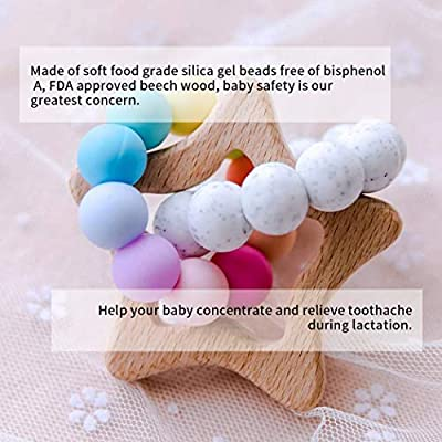 Biter teether Wooden Star Teether Pendant Bracelet for Infant BPA Free Silicone Colored Beads Rings Handmade Baby Grasping Toys Teething Jewelry Neutral: Toys & Games