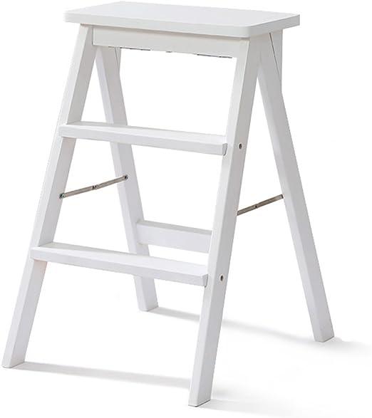 GLJJQMY - Escalera de madera maciza para el hogar, escalera de 3 escalones, taburete plegable portátil moderno con pedal de seguridad, antideslizante, multifuncional, para cocina alta, 40 x 20 x 64 cm: Amazon.es: Hogar