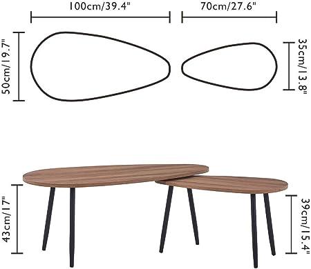 KAIHE Nido Triangular de Madera de 2 Mesas Mesa de Centro Moderna Sofá Mesa Auxiliar Multifuncional con Patas de Metal Muebles Vivos, Marrón