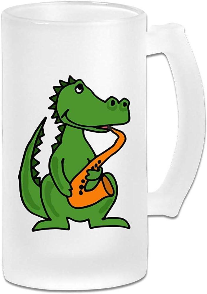 Divertido Funky Alligator tocando el saxofón Jarra de cerveza de vidrio esmerilado Stein - Taza personalizada personalizada de pub - Regalo para su bebedor de cerveza favorito