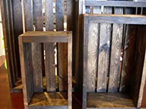 Vintage Stained-rustic Wood Crates Set of 4