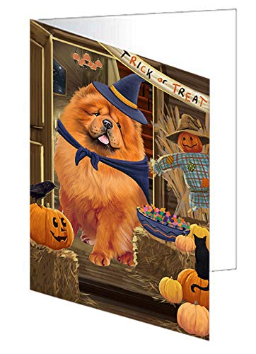 Enter at Own Risk Trick or Treat Halloween Chow Chow Dog Greeting Card GCD63281 (20)]()