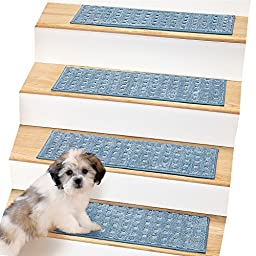 Ultra Soft Waffle Weave Stair Treads - Set of 4, Blue