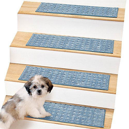 Blue Treads (Ultra Soft Waffle Weave Stair Treads - Set of 4,)