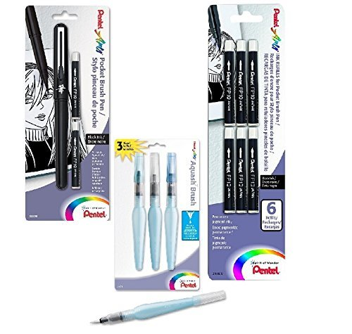 Artists Pentel Arts Pocket Brush Pen with 2 Black Ink Refills (GFKP3BPA), Additional PACK OF 6 REFILLS! (FP10BP6A) and Pentel Arts Aquash Water Brush Assorted Tips, Pack of 3 (FRHBFMBP3)