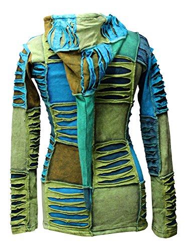 Mezcla de Azul Flor Bordado Pixie con capucha Razor Cut étnico hippy con capucha boho chaqueta Azul azul Small